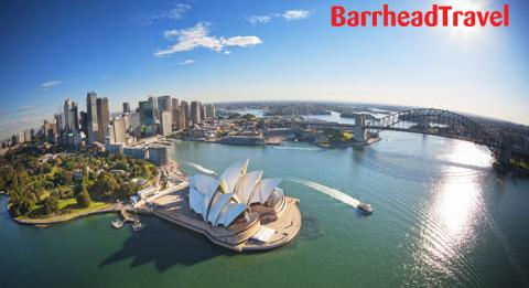 Aerial of Sydney harbour Opera House, Royal Botanic Gardens and the Sydney Harbour Bridge