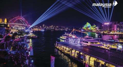 The Vivid cruise boat sailing in Sydney Harbour during Vivid Sydney 2018