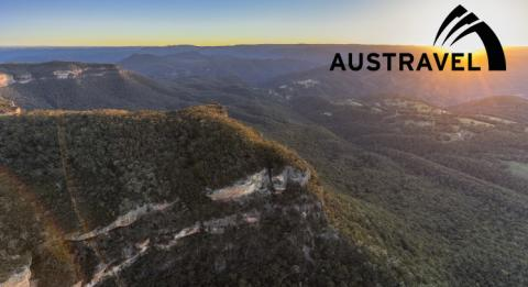Sun setting over Narrow Neck, Katoomba in the World-Heritage listed Blue Mountains National Park.