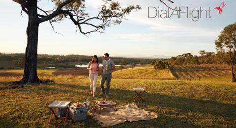 A couple enjoying a picnic at Audrey Wilkinson Wines, Hunter Valley