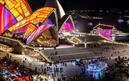 Crowds viewing installations around the Sydney Opera House during Vivid Sydney 2016